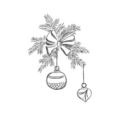 Christmas, ball, pine, decoration, New Year, vector, sketch