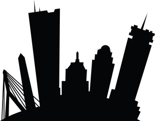 Cartoon skyline silhouette of the city of Boston, Massachusetts, USA featuring buildings and bridge.