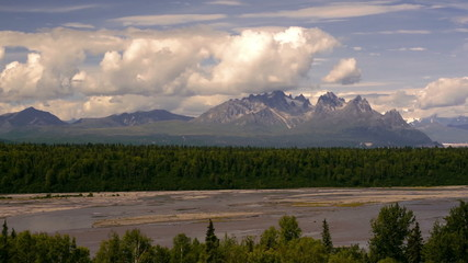 Wall Mural - The Peaks and Valleys of Denali Alaska Territory