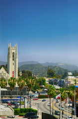 The Hollywood sign on the hill. Los Angeles. United States