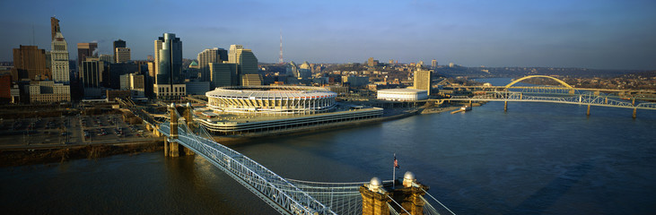 This is the Ohio River with the Roebling Suspension Bridge over it. At the end of the bridge is Three Rivers Stadium and the Cincinnati skyline.