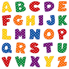 Alphabet, original polka dot design in vivid red, blue, green, gold, orange and purple, uppercase letters for back to school, crafts, scrapbooks.
