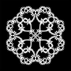 Doily ornament, stencil round pattern, cut out design, decor element, vector illustration