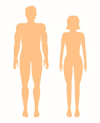 Human silhouettes. Vector man and woman