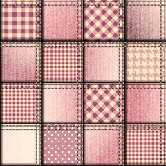 Patchwork of pink denim fabric.