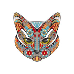 Decorative cat. Hand drawn vector illustration