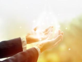 Healing Circle of Light, Old female healer open hands for sunlight