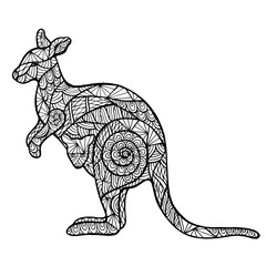 Stylized kangaroo zentangle