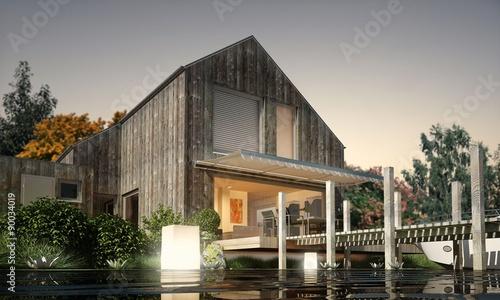holzhaus am see stockfotos und lizenzfreie bilder auf bild 90034019. Black Bedroom Furniture Sets. Home Design Ideas