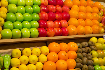 Various fruit on a counter in the market or in shop