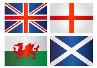 United Kingdom flags: England, Wales, Scotland