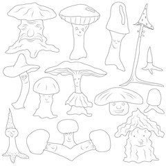 Mushrooms are different in shape and type. funny mushrooms of different structure, sentiments and forms