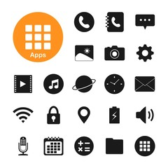 Mobile application icon. Application for smart phone icon. Funct