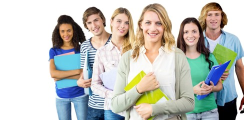 Composite image of college students holding folders at college