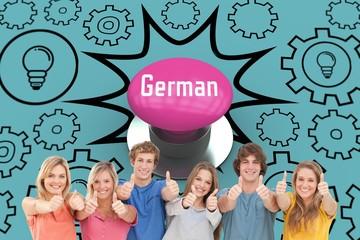 German against pink push button