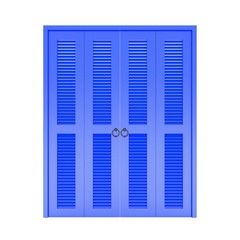 blue folding door with grill ,3d