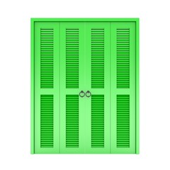 green  folding door with grill ,3d