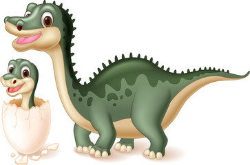 Mother dinosaur with baby hatching. vector illustration