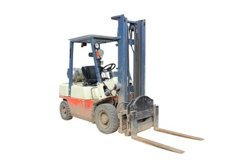 Dirty and muddy working fork lift isolated on a white background using clipping path