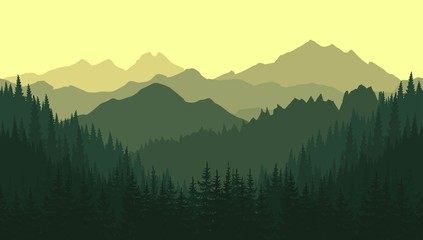 Green mountain landscape in the summer. Vector seamless background.