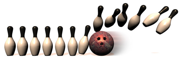 Bowling Border with ball hitting pins in a line