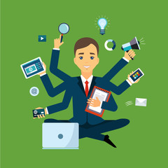 Businessman with multitasking and multi skill. Keep calm
