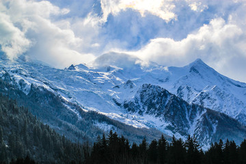 The Mount Blanc in Chamonix, France.