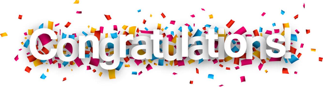 Congratulations paper confetti sign.