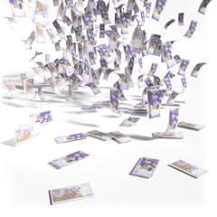 Geldregen aus 20 Schwedische Kronen Scheinen