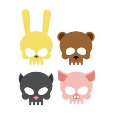 Cute animal skulls. Bear and pig. Head skeleton rabbit and cat.