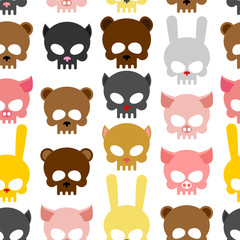skulls animal seamless pattern. Background for Halloween. Snout