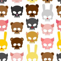 skulls animal seamless pattern. Background for Halloween. Snout