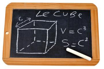 Ardoise avec formules du cube