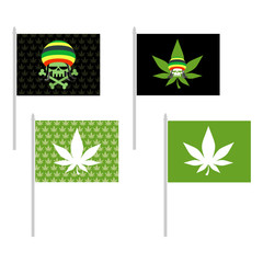 Rasta flags set. Banner for addicts of Jamaica. Green Skull and