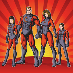 Generic superhero family standing proud.  Layered & easy to edit. See portfolio for other images.
