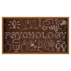 Chalk board doodle with symbols on psychology. Vector
