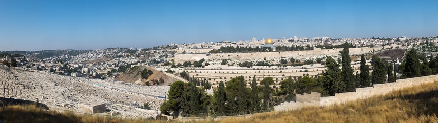 Panorama overlooking the Old City of Jerusalem, Israel, includin