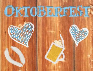 Oktoberfest on wooden Plank