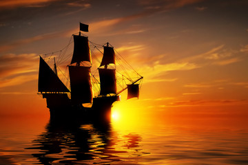 In de dag Schip Old ancient pirate ship on peaceful ocean at sunset.
