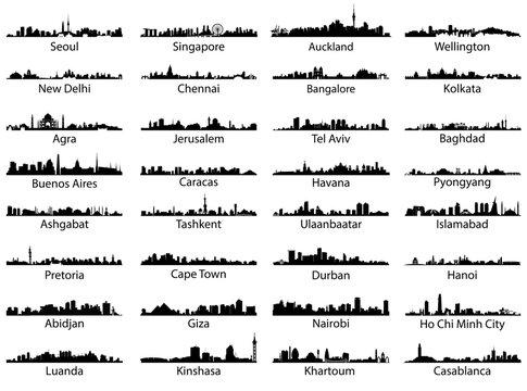 Vector set of world city skylines