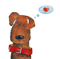 Dog in red dog collar with heart. Watercolor and gouache Illustration