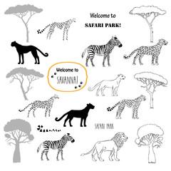 Savanna animals set