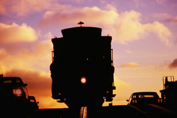 Silhouette of streetcar