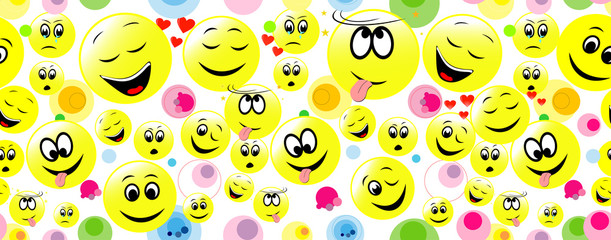 Colorful seamless background of smiley faces. For web, wallpaper and design.