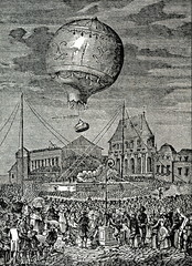 First flight of living beings in a basket attached to the balloon (Versailles, 19th of September 1783)