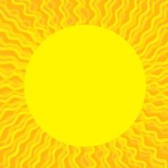 Sun yellow rays on orange background