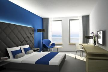 Hotelzimmer Blau