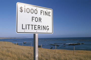 Sign with fines for litter