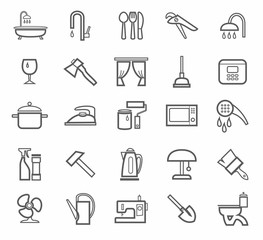 Signs, household goods, appliances, dishes, tools, grey outline, white background.