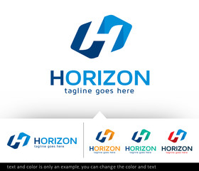Horizon Letter H Logo Template Design Vector